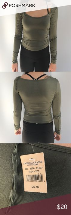 long sleeve crop top olive green long sleeve crop top from american eagle. size x-small. new with tags! American Eagle Outfitters Tops Crop Tops