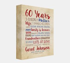 Birthday Gift for Mom 60th Birthday 60 Years by WanderingFables