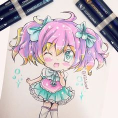 @kiricheart their AMAZING and very adorable chibi anime girl with pink hair illustration