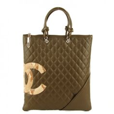 87b687beabe02b CHANEL Calfskin Quilted Python Cambon Ligne Flat Tote Khaki $1,195 Chanel  Logo, Diamond Quilt,