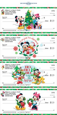 Ho! Ho! Ho! Make your holidays extra enchanting with the Disney Mickey Mouse and Friends Holiday Personal Checks. Delight in sweet portraits of classic Disney characters dressed in their Christmas best, including Mickey Mouse, Minnie Mouse, Goofy, Donald Duck and Pluto. Perfect to share some Christmas cheer with every check you write - Shop Now!