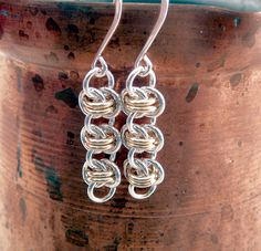 Simple Silver and Gold Chainmaille  Earrings by TouchOfSilver