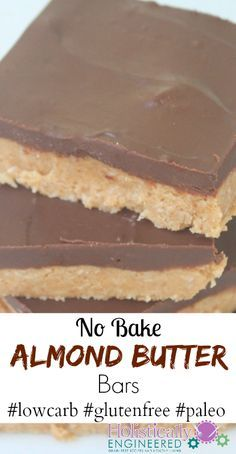 When I altered my famous peanut butter bars, the result were these tasty no bake almond butter bars. Fantastic and addicting! 15 Easy Low Carb Dessert Recipes by toni Desserts Keto, Desserts Sains, Gluten Free Desserts, Healthy Desserts, Easy Desserts, Dessert Sans Gluten, Paleo Dessert, Dessert Recipes, Dinner Dessert