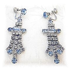 Aquamarine  Blue  White Crystal Chandelier Earrings