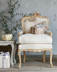 Pair Vintage 1930's Italianate Rococo Arm Chairs-antique,, carved, chairs, burlap,rococo, upholstered, furniture