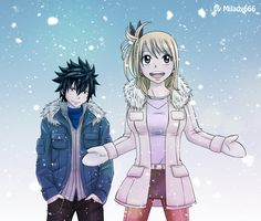 Fairy Tail Gray and Lucy Kiss | GrayLu _winter by ~Milady666 - Lucy x Gray Fan Art (32822646) - Fanpop