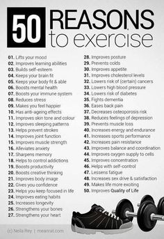 50 reasons to exercise - I should pin this up somewhere.