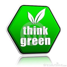 "sello ""Piensa verde"". Think green."