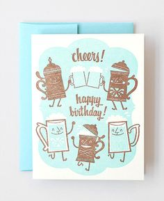 Cheers  Letterpress Greeting Card designed by Esther Aarts for Hello!Lucky