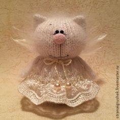 Киска Ангелочек. - белый,ангелочек,киска,вязаная игрушка,оригинальный подарок