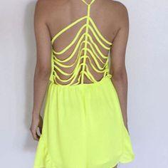 Neon strappy romper shorts