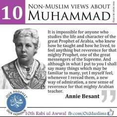 Islamic Qoutes HD Images English: Annie Besant view about Prophet Muhammad (PBUH) by. Cogito Ergo Sum, Prophet Muhammad Quotes, Quran Quotes, Wisdom Quotes, Quotes Quotes, Life Quotes, Islamic Love Quotes, Muslim Quotes, Islamic Images