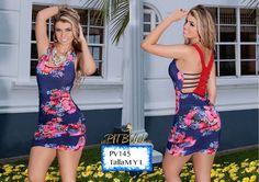 Vestido Colombiano PitBull +Modelos en: http://www.ropadesdecolombia.com/index.php?route=product/category&path=77 #vestidos #moda #sexy #fiesta #ventaonline #ajustado #dama  #elegante #fashion #corto #espampado #flores #azul
