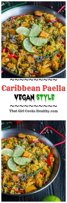 Indulge on this meat free vegan style paella. A combination of seasoning, herbs spices and vegetables all prepared on a gigantic paella pan. I'm talking about lip smacking, bold Caribbean and Spanish aromatic flavours all in one serving. Vegan Foods, Vegan Dishes, Vegan Vegetarian, Vegetarian Recipes, Healthy Recipes, Healthy Breakfasts, Healthy Cooking, Healthy Eating, Cooking Recipes
