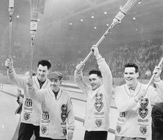 what a great curling photograph... w/o checking, I think these are the Richardsons....one of the most famous Rinks in Canada and arguably the most powerful sweepers...