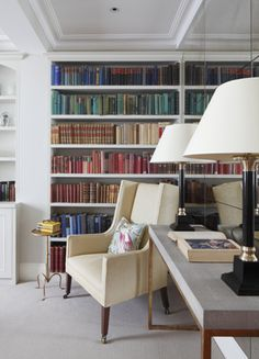 Interior Design Inspiration – Our portfolio showcases how we transformed a London townhouse into a traditional family home with an elegant country feel. London Townhouse, Notting Hill, Interior Design Inspiration, Corner Desk, Bookcase, Home And Family, Study, Shelves, Traditional