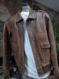 eeaba51787a Slightly Distressed Bomber style Brown Leather Jacket w  map lining sz 42