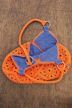 Edna Confecções em Crochê : Bolsa em Crochê dupla face com Gráfico