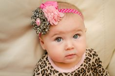 baby Headband Sassy Leopard  hot pink by MudpiesandPigtails, $12.95