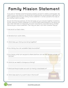 Family Mission Statement writing prompt ideas.