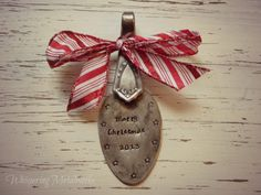 Spoon ornament Merry Christmas 2013 red by WhisperingMetalworks