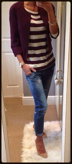 Stripes with boyfriend jeans & bolero jacket