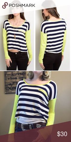Lime sleeve navy and white stripe top Navy and white stripe shirt with lime green long sleeves. This shirt is slightly cropped and has a zipper on the chest. You can unzip the zipper, but there is no pocket. Brand new without tags, comes on original store hanger. psalm465 Tops Tees - Long Sleeve