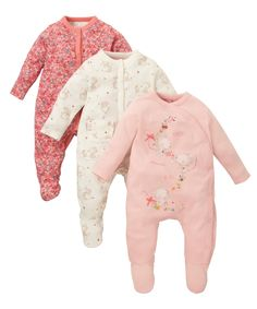 Pretty Mouse Sleepsuits - 3 Pack