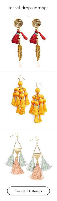 """""""tassel drop earrings"""" by millilolly ❤ liked on Polyvore featuring jewelry, earrings, feather earrings, vintage jewellery, tassel jewelry, tassel earrings, vintage drop earrings, accessories, yellow and pom pom drop earrings"""