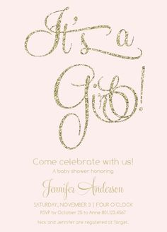 The Glitter and Gold baby shower invitation is a fun combo of glitz and glam for any baby girl themed shower. This simple yet sophisticated card lets you pick your colors instantly online to perfectly match your party's color palette.<br> <br>***PLEASE NOTE THAT THE GLITTER ON THIS CARD IS A HIGH RESOLUTION PRINTED IMAGE, AND NOT ACTUAL GLITTER.***