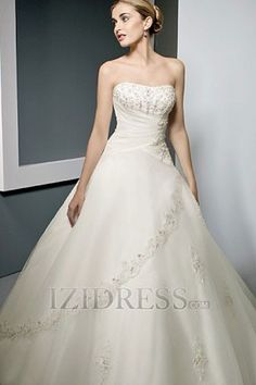 Ball Gown Strapless Sweetheart Organza Satin Beach Wedding Dresses