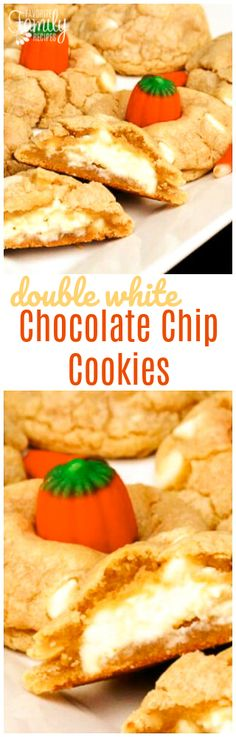 These Double White Chocolate Chip Cookies are so chewy and delicious! Add candy corn or pumpkins to make them Halloween style. via @favfamilyrecipz