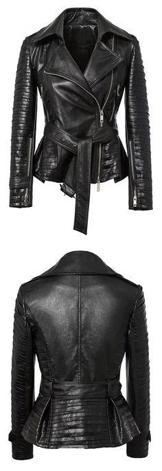 MYNYSTYLE | Black Lapel PU Tied Ruched Hem Biker Jacket.