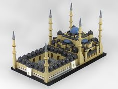 Blue Mosque / Sultan Ahmed Mosque, 1616, in Istanbul, Turkey by architect Sedefkâr Mehmed Ağa.  LEGO Model by Artizan.  More info at https://en.wikipedia.org/wiki/Sultan_Ahmed_Mosque
