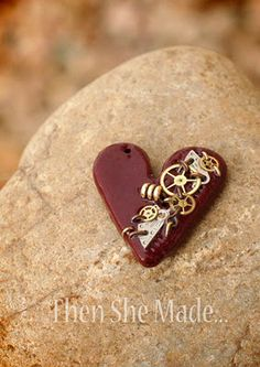 steampunk heart pendant by Then She Made