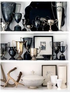 Vessel Display - My Sparrow-stylish responsibility: Vintage trophies display - Green Design Old Trophies, Glass Trophies, Green Design, Design Design, Trophy Display, China Display, Trophy Cup, Trophy Shelf, Trophy Wife