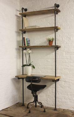 Baines Bespoke Reclaimed Scaffolding Boards and Dark Steel Pipe Adjustable Shelves Bookcase with Incorporated Desk - www.urbangrain.co.uk by UrbanGrainInteriors on Etsy https://www.etsy.com/listing/274570696/baines-bespoke-reclaimed-scaffolding