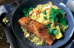 Looking for Moroccan-style salmon with lemony couscous recipe. Enjoy Moroccan cuisine and learn how to make Moroccan-style salmon with lemony couscous. Fresh Fish Recipes, Salmon Recipes, Seafood Recipes, Cooking Recipes, Healthy Recipes, Easy Recipes, Grub Recipes, Recipies, Healthy Dinners