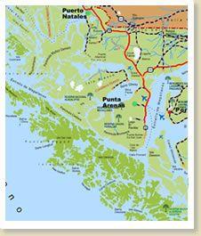 Mapas y Fotos de Torres del Paine, Puerto Natales y Punta Arenas - Chile