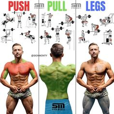 Push/Pull/Legs Split: Day Weight Training Workout Schedule and Plan Push/Pull/Legs -Above are some exercises you would incorporate into a push/pull/legs split. The push/pull/legs split is a very simple training method in which you split your body into Push Workout, Workout Splits, Gym Workout Tips, Biceps Workout, Workout Schedule, Push Pull Workout Routine, Workout Routines, Push Pull Legs Workout, Weight Training Workouts