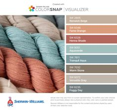 I found these colors with ColorSnap® Visualizer for iPhone by Sherwin-Williams: Renwick Beige (SW 2805), Fame Orange (SW 6346), Henna Shade (SW 6326), Aquaverde (SW 9051), Tranquil Aqua (SW 7611), Warm Stone (SW 7032), Versatile Gray (SW 6072), Foggy Day (SW 6235).