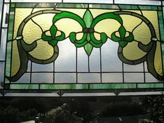 MADE to ORDER - Fleur-de-Lis Stained Glass Panel  in Golds and Greens - Handcrafted - Made in USA