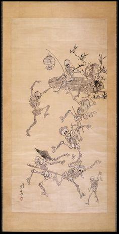 Kawanabe Kyosai (1831 - 1889) - Skeletons dancing - Painting on silk, hanging scroll.