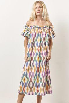 f150e0881448 BIATA midi length off the shoulder dress MULTI IKAT – CLC by Corey Lynn  Calter Clc