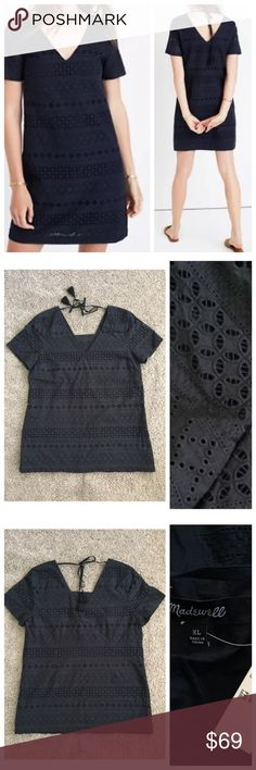 """NWT Madewell embroidered eyelet tunic dress NWT Madewell embroidered eyelet tunic dress in size XL. Breezy embroidered Eyelet lace, lined,subtle v neck ties at the nape of the neck with tassels, non waisted, side zip and cotton. Retail $138 • armpit to armpit about 21"""" • Shoulder to shoulder about 16.5"""" • Length about 30"""" Madewell Dresses"""