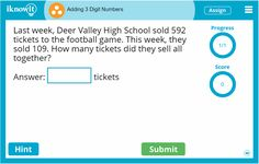 There are plenty of adding lessons on Iknowit.com, such as this adding three-digit numbers lesson for third grade!