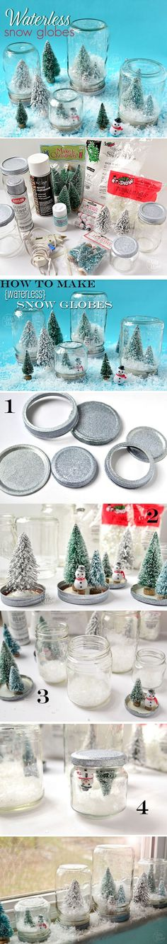 DIY Waterless Snow Globes- fun to make w/ Cait Noel Christmas, Christmas Crafts For Kids, Diy Christmas Gifts, Christmas Projects, Winter Christmas, Holiday Crafts, Holiday Fun, Christmas Decorations, Christmas Ornaments