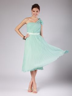 $103.98 A Line Princess One Shoulder Knee Length Chiffon dress with Sashes -Bridesmaid Dresses-DeniseDress
