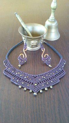 Collar y pendientes de macramé estilo indio con por TribalMacrame