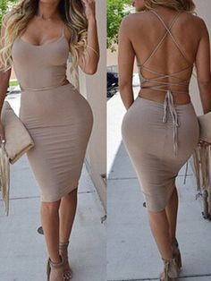 Sexy Spaghetti Strap Sleeveless Lace-Up Solid Color Taupe Dress For Women